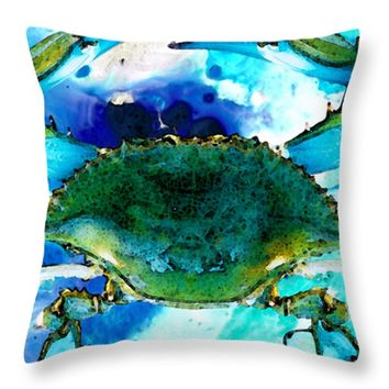 "Blue Crab - Abstract Seafood Painting Throw Pillow 16"" x 16"""