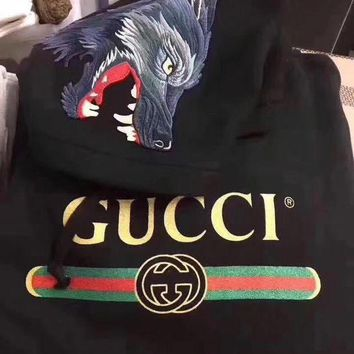 """Gucci"" Women Personality Logo Letter Wolf Head Pattern Embroidery Long Sleeve Hooded Sweater Tops I"