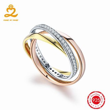 HeartByHeart Classic Silver Rings with Rose Gold 925 Sterling Solid Silver Set of rings Women Wedding Fine Jewelry Trinity Ring