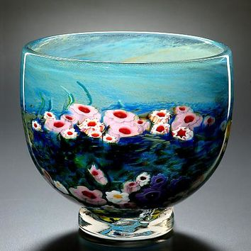 Landscape Series Footed Bowl Opal by Shawn Messenger: Art Glass Bowl | Artful Home