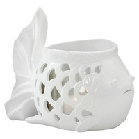 Torre & Tagus Fish Cutout Single Candle Holder - White