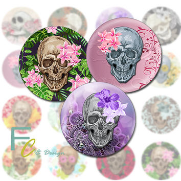 "Skull and Flowers 1.5"" Circles, Printable Digital Collage Sheet, Shabby Skulls, Craft Supplies, Jewelry Making, Decoupage, Pendants, Magnets"