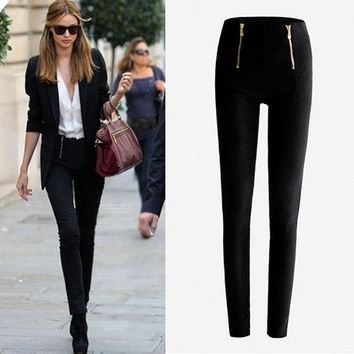 Feitong Leggings Female Jean plus Leisure Slim jeggings Trousers Warm Zipper Stretch Sexy Skinny Pencil Pants #1