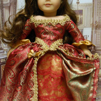 "Historical American girl doll clothes ""Scarlet Elegance"" (18 inch doll) 1700s evening gown, revolutionary, Marie Antionette,  Elizabethan"
