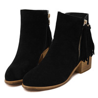 Black Suedette Tasseled Zip Side Chunky Ankle Boots