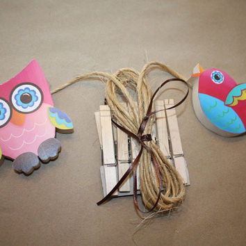 Psychedelic Owl and Birdie Wooden Girls Wall ART DISPLAY Clips for Kids Bedroom Baby Nursery Playroom AC0010