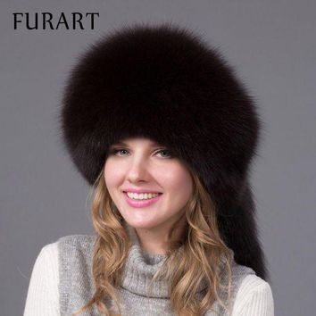 ONETOW winter fur cap real fox fur hat with fur tail fashion Russian high quality female brand hat women winter warm cap HJL-06X