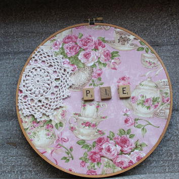 Cottage Chic Doily Art Pink and Beige Lace Personalized Embroidery Hoop Art Wall Hanging Decor