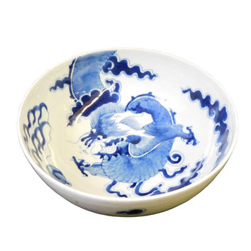 Chinese Blue & White Porcelain Dragon Graphic Bowl cs1418S