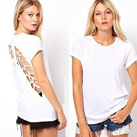 Aokdis Womens Casual Short Sleeve Hollow T-Shirt Backless Top Wing
