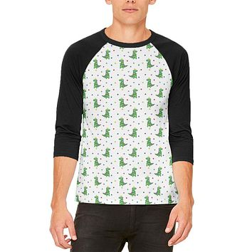 Christmas Tree Rex T-Rex Dinosaur Pattern Mens Raglan T Shirt