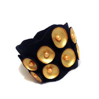 Leather bracelet with pearls. Gold and black pod leather cuff. Leather jewelry