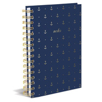 Gold Anchors Hard Cover Journal in Nautical Navy