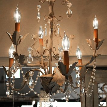 French Chandelier - Gray w/ Crystals