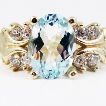 Aquamarine 14k Yellow Gold CZ Accent Oval Ring, March Birthstone Ring, 14k Gold Engagement Ring, Yellow Gold Ring, 14 Karat Engagement Ring