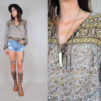 INDIA vtg 70's gauze COTTON ethnic floral Blouse shirt Draped hippie bohemian paisley Paper thin