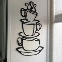 New Qualified Wall Sticker Removable DIY Kitchen Decor Coffee House Cup Decals Vinyl Wall Sticker Levert Dropship dig6926