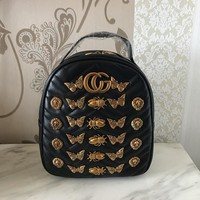 Fashion Personality Rivet Insect Animal Modeling Travel Backpack Women Double Shoulder Bag Handbag
