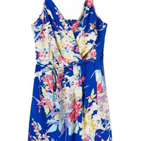 Summer Women's Fashion V-neck Floral Backless Spaghetti Strap One Piece Dress [4920237892]