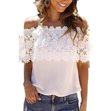 Off Shoulder Blouse Lace  Crochet Shirt