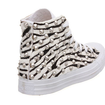 Studded Converse, Zebra Converse with silver cone rivet studs by CUSTOMDUO on ETSY