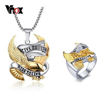 """Vnox Men's """"Live to Ride"""" Eagle Pendant Chain Necklace and Ring"""