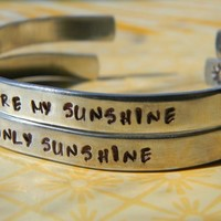 you are my sunshine/my only sunshine pair of bracelets handstamped