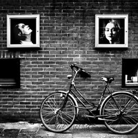 Street in Amsterdam fine art print, For bike lovers, Fine art print, Black white Amsterdam street abstract print, street bike,  8 x 12''