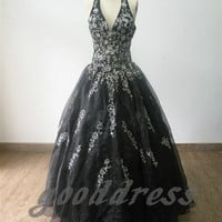 Cheap Black Halter embroidery BacklessFloor Length Formal Long Evening/Prom/Party/Bridesmaid/Homecoming Dress Ball Gown