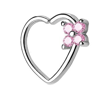BodyJ4You 16G (1.2mm) Daith Piercing Pink CZ Square Heart Silvertone Helix Earring Cartilage Hoop Piercing