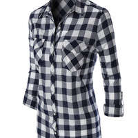 LE3NO Womens Lightweight Plaid Button Down Shirt with Pockets (CLEARANCE)