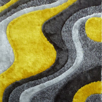 Design 29 Gray Yellow 100% Polyester Modern Hand Tufted Shag Area Rug