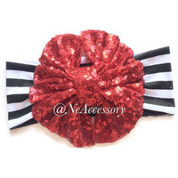 Red Sequin Bow Headband, Red Sparkle Bow Headband, Red Messy Bow Headband, Messy Bow Head wrap, Glitter Bow Headband,
