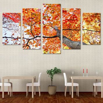 AUTUMN FALL 5 panel canvas art print maple tree red yellow leaves canvas pictures for living room