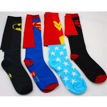 Batman Dark Knight gift Christmas DC Superman Batman The Flash Wonder Woman knee high long Socks summer style cotton weed costume socks party cosplay socks AT_71_6