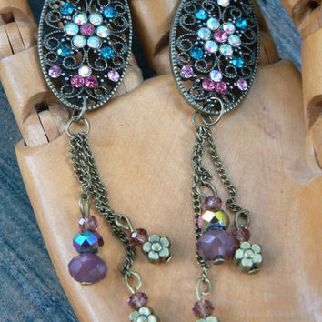 flower filigree earrings rhinestones flowers beads  in victorian fantasy boho gypsy hippie beach hipster and fantasy style