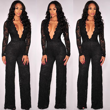 Sexy Club 2015  Style Black  Deep V-Neck Long Sleeve  Lace Jumpsuit  For Womens Party Clothing