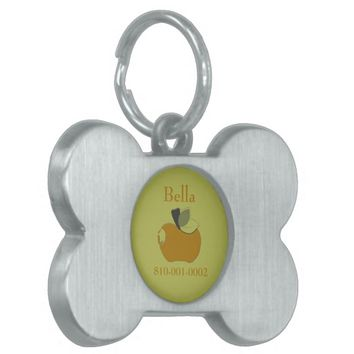 Dark Goldenrod Apple Pet Name Tag