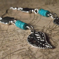 Turquoise Beaded Dangle Earrings, Silver Earrings, Beaded Earrings, Leaf Earrings, Jewelry, Gift For Her, Fashion Accessories
