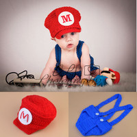 Mario Brothers Crochet Costume Cosplay Set Newborn Infant Photography Prop