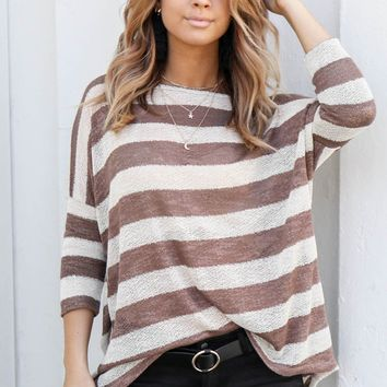 Gonna Love You Striped Brown Top