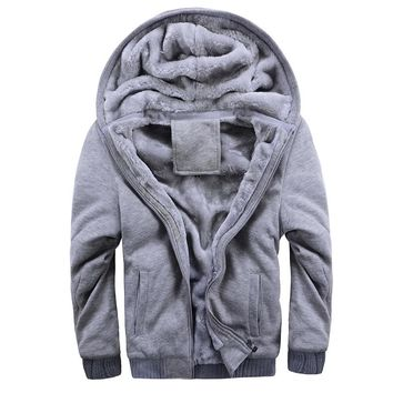 Brand New Man's Winter Hoodies Designer Fashion Plus Size Fleece Thicken Casual Jacket Coat Men Gray Blue Red Black M ~4Xl B4E1