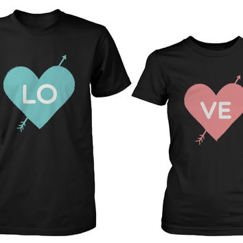Love Heart Matching Couple Black T-shirts (Set)