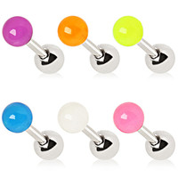 316L Surgical Steel Cartilage Earring with Glow in the Dark Ball