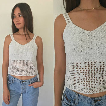 Vintage 90s White Crochet Cropped Tank Top