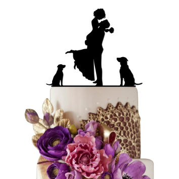 Wedding Cake Topper Bride  Groom With Puppies Decoration