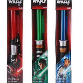 Star Wars Lightsaber with Light Sound Led Red Green Blue Saber laser Telescopic Sword Toys Birthday Gifts kids Adult Game PVC