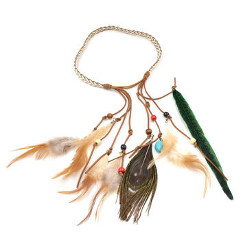 Vintage Bohemia Peacock Feather Headdress Knitted Rope With Headband Hair Hoop Led Head Spot