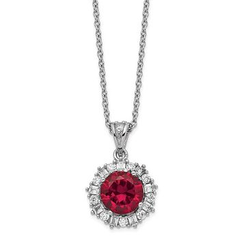 Cheryl M Sterling Silver Round Created Ruby & CZ Halo Pendant Necklace