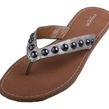 DCCKG2C Coach Cascade Womens Bright Silver Metallic Crossgrain Leather Thong Sandals